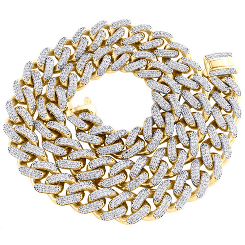 """10K Yellow Gold Hollow 15mm Miami Cuban Chain Cubic Zirconia CZ Necklace 22""""-30"""""""