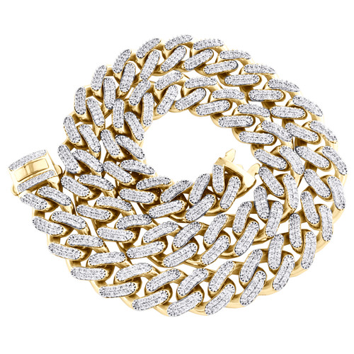 """10K Yellow Gold Hollow 17mm Miami Cuban Chain Cubic Zirconia CZ Necklace 24""""-30"""""""