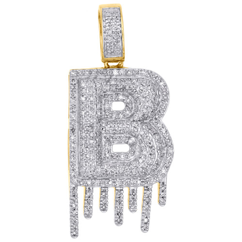 10K Yellow Gold Diamond B Initial Bubble Drip Pendant Pave Dome Charm 0.62 CT.