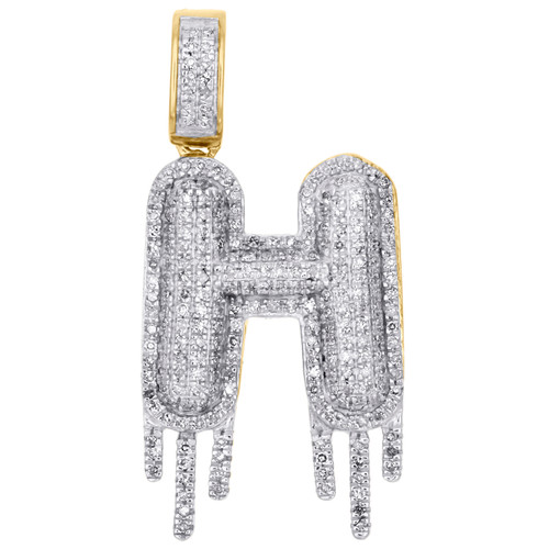 10K Yellow Gold Diamond H Initial Bubble Drip Pendant Pave Dome Charm 0.75 CT.