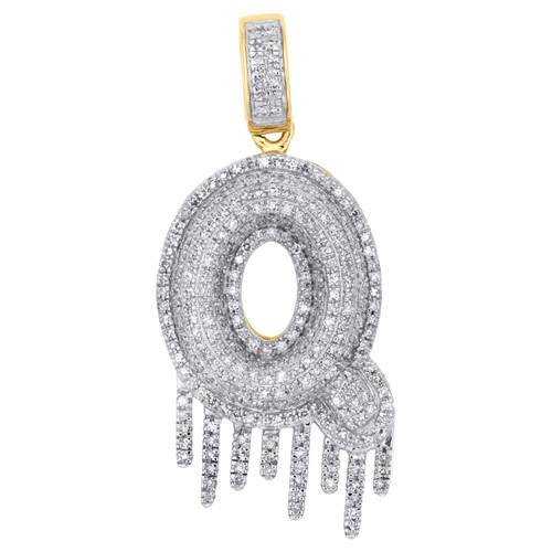 10K Yellow Gold Diamond Q Initial Bubble Drip Pendant Pave Dome Charm 0.87 CT.
