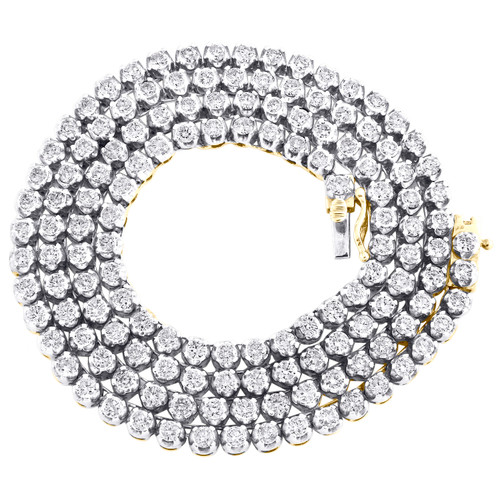 """10K Yellow Gold Solitaire 4 Prong Set Diamond Tennis Chain 24"""" Necklace 14.87 CT"""