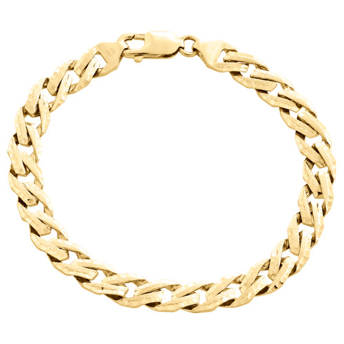 "10K Yellow Gold Solid Fancy Link 7.75mm Brushed Matte Texture Mens Bracelet 8.5"""