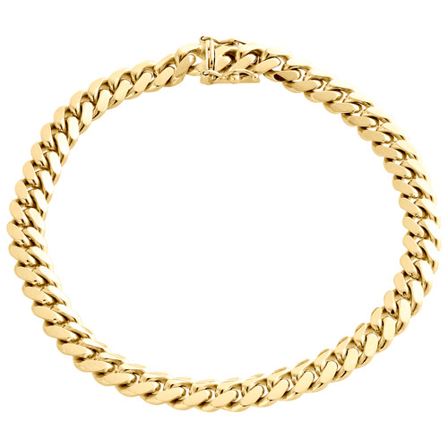 """Mens Real 14K Yellow Gold 7mm Solid Miami Cuban Link Bracelet Heavy Box Clasp 9"""""""