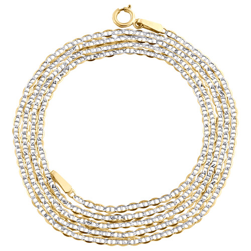 """10K Yellow Gold 1.50mm Diamond Cut Solid Anchor Mariner Chain Necklace 16""""-24"""""""