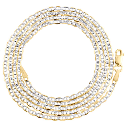 10K Yellow Gold 1.9mm Diamond Cut Solid Anchor Mariner Chain Necklace 16-26 Inch