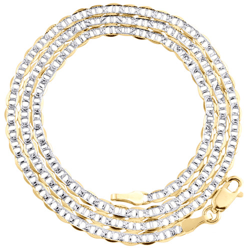 """10K Yellow Gold 2.50mm Diamond Cut Solid Anchor Mariner Chain Necklace 16""""-26"""""""