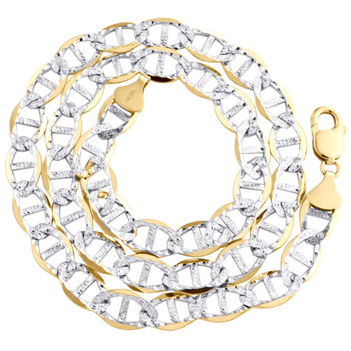 """10K Yellow Gold 10.75mm Diamond Cut Solid Anchor Mariner Chain Necklace 24""""-30"""""""