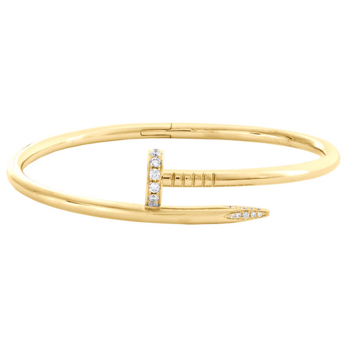 Solid 18K Yellow Gold Genuine Diamond Nail Bangle 20cm Unisex Bracelet 0.59 CT.
