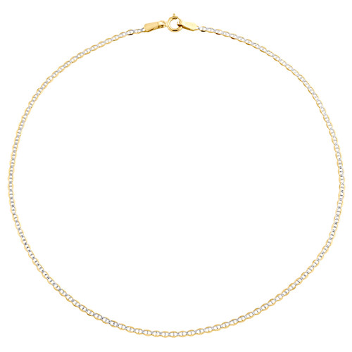 """10K Yellow Gold 1.50mm Diamond Cut Solid Anchor Mariner Bracelet / Anklet 9""""-10"""""""