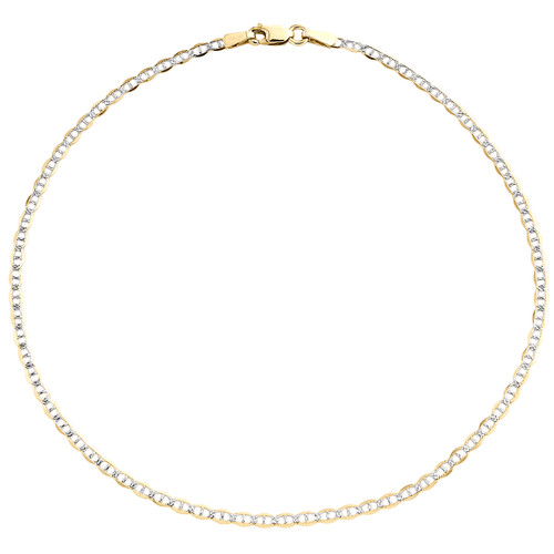 10K Yellow Gold 2mm Diamond Cut Solid Anchor Mariner Bracelet / Anklet 9-10 Inch