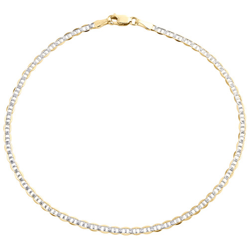 """10K Yellow Gold 2.50mm Diamond Cut Solid Anchor Mariner Bracelet / Anklet 8""""-10"""""""