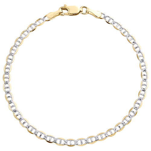 10K Yellow Gold 3mm Diamond Cut Solid Anchor Mariner Bracelet / Anklet 7-10 Inch