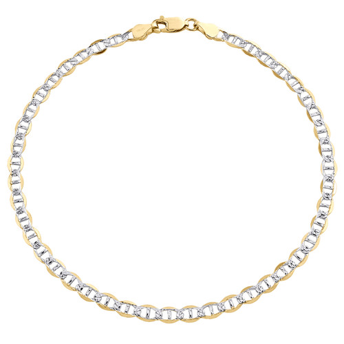 10K Yellow Gold 4mm Diamond Cut Solid Anchor Mariner Bracelet / Anklet 7-10 Inch