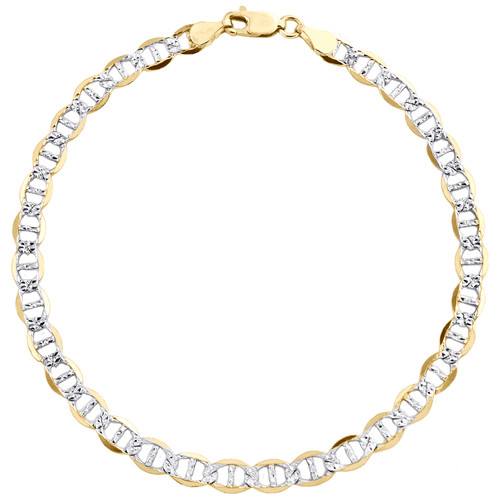 10K Yellow Gold 5mm Diamond Cut Solid Anchor Mariner Link Bracelet 7 - 9 Inches