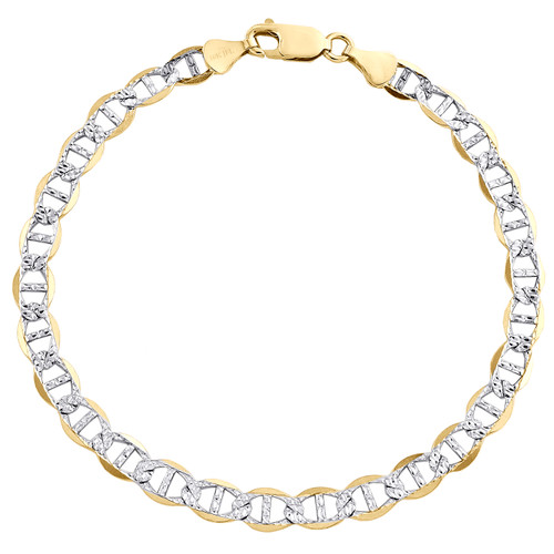 10K Yellow Gold 6mm Diamond Cut Solid Anchor Mariner Link Bracelet 7 - 9 Inches