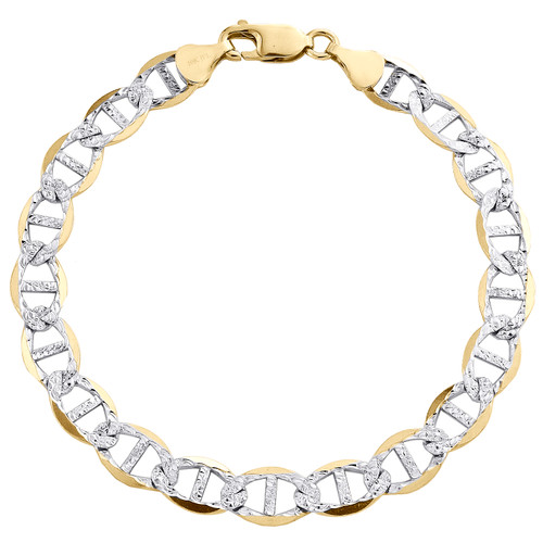 10K Yellow Gold 7.50mm Diamond Cut Solid Anchor Mariner Link Bracelet 8-9 Inch