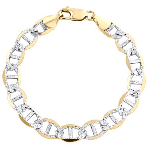 10K Yellow Gold 9.25mm Diamond Cut Solid Anchor Mariner Link Bracelet 8-9 Inch