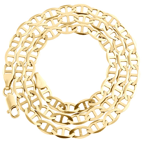 10K Yellow Gold 5mm Plain Solid Anchor Mariner Link Chain Necklace 16-30 Inch
