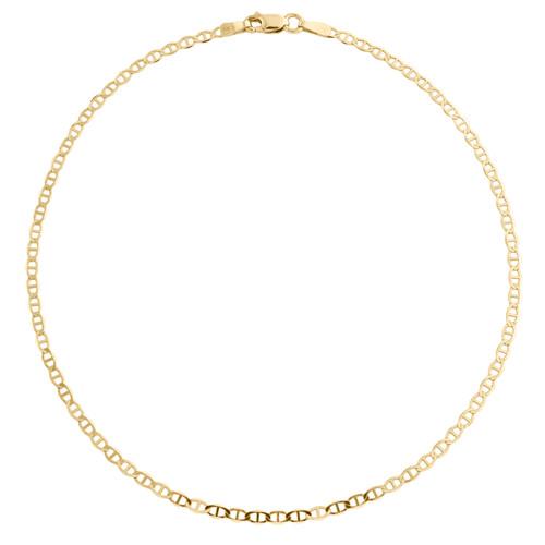 10K Yellow Gold 2mm Plain Solid Anchor Mariner Link Bracelet / Anklet 9-10 Inch
