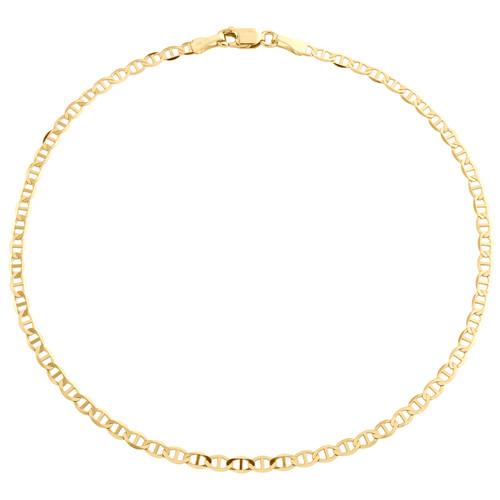 10K Yellow Gold 2.50mm Plain Solid Anchor Mariner Link Bracelet Anklet 9-10 Inch