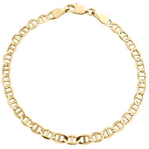 10K Yellow Gold 4mm Plain Solid Anchor Mariner Link Bracelet / Anklet 7-10 Inch