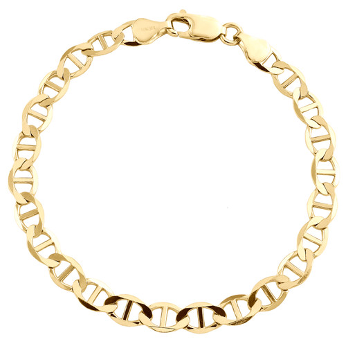 10K Yellow Gold Mens 6mm Plain Solid Anchor Mariner Link Bracelet 8-9 Inches