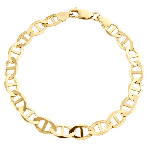 10K Yellow Gold Mens 7.50mm Plain Solid Anchor Mariner Link Bracelet 8-9 Inches