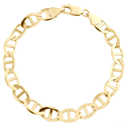Solid 10K Yellow Gold Mens 9mm Plain Anchor Mariner Link Bracelet 8 - 9 Inches