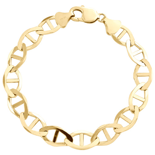 Solid 10K Yellow Gold Mens 10.75mm Plain Anchor Mariner Link Bracelet 8-9 Inches