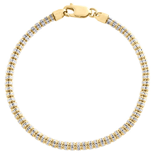 10K Yellow White Gold Two Tone 3.50mm Diamond Cut Ice Bead Bracelet 8-9 Inches