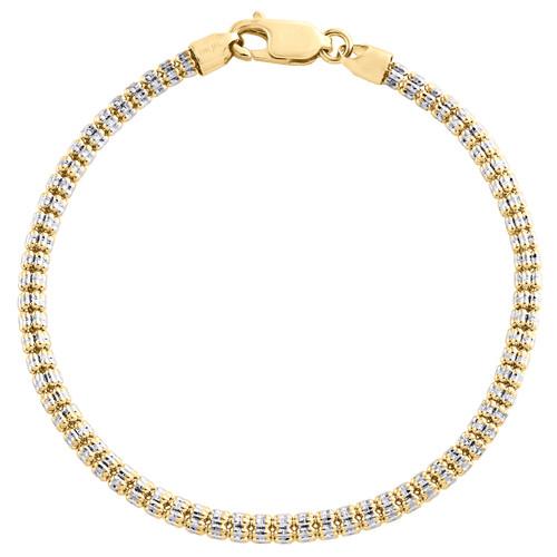 10K Yellow White Gold Two Tone 3.50mm Diamond Cut Ice Bead Bracelet 8-9 Inches