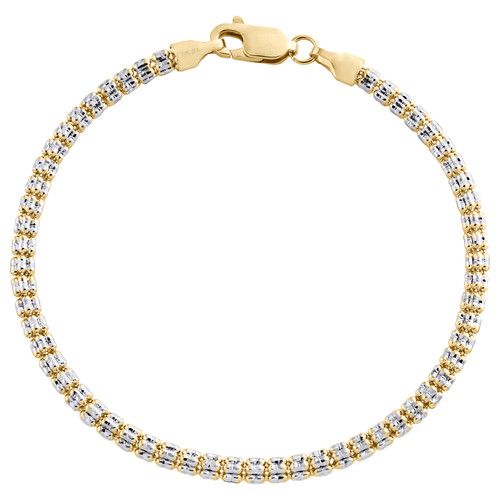 10K Yellow White Gold Two Tone 3mm Diamond Cut Ice Bead Link Bracelet 7-9 Inches
