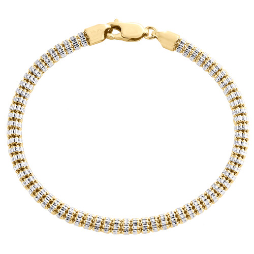 10K Yellow White Gold Two Tone 4mm Diamond Cut Ice Bead Link Bracelet 8-9 Inches
