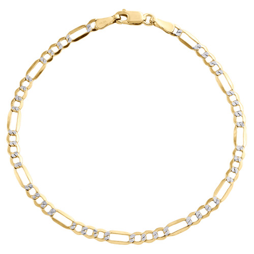 10K Yellow Gold 3.25mm Diamond Cut Hollow Fiagro Link Bracelet Anklet 7-10 Inch