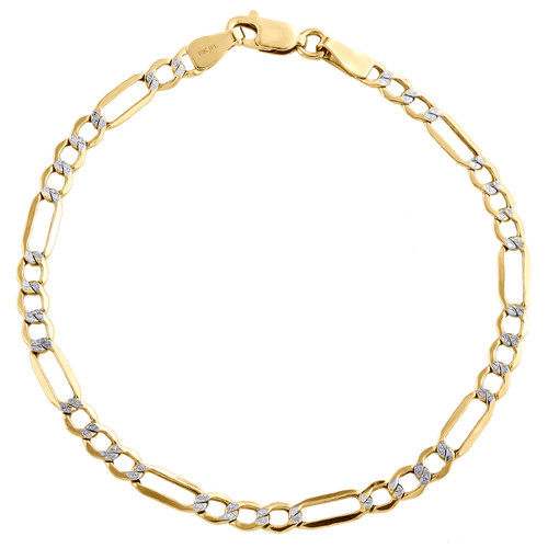 10K Yellow Gold 4.50mm Diamond Cut Hollow Fiagro Link Bracelet Anklet 7-10 Inch