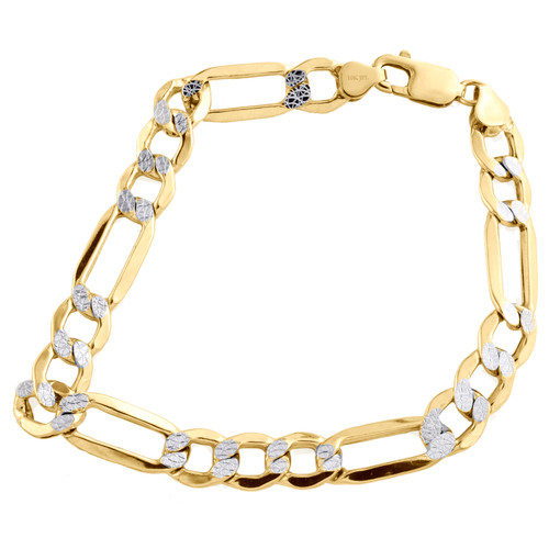 Real 10K Yellow Gold 9.25mm Diamond Cut Hollow Fiagro Link Bracelet 8-9 Inches