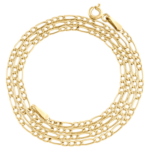Real 10K Yellow Gold 2mm Plain Hollow Figaro Chain Link Necklace 16 - 24 Inches