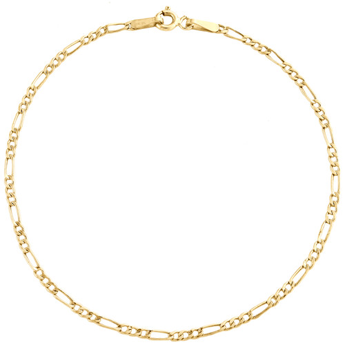 Real 10K Yellow Gold 2mm Hollow Plain Fiagro Link Bracelet / Anklet 7-10 Inches