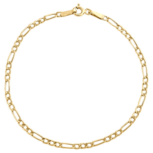 Real 10K Yellow Gold 2.25mm Hollow Plain Fiagro Link Bracelet / Anklet 7-10 Inch