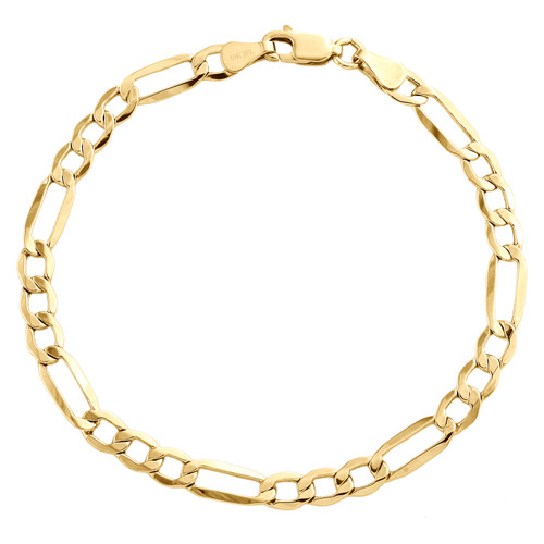 Mens Genuine 10K Yellow Gold 4mm Plain Hollow Fiagro Link Bracelet 7-9 Inches