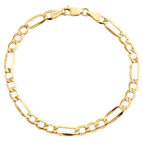 Real 10K Yellow Gold 4.75mm Hollow Plain Fiagro Link Fancy Bracelet 7-9 Inch