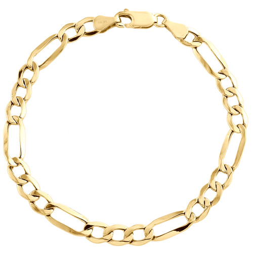 Real 10K Yellow Gold 5.50mm Hollow Plain Fiagro Link Fancy Bracelet 7-9 Inch