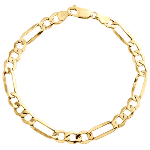 Real 10K Yellow Gold 6.25mm Hollow Plain Fiagro Link Fancy Bracelet 7-9 Inch