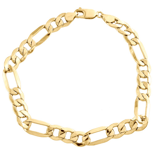 10K Yellow Gold 8mm Plain Hollow Fiagro Link Bracelet Lobster Clasp 8-9 Inches