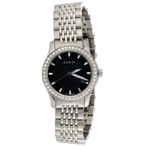 Gucci Ya126502 Diamond Watch G-Timeless Ladies 27mm S. Steel Black Dial 0.60 CT.