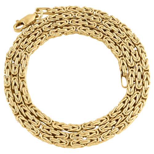 10K Yellow Gold 2.50mm Plain Hollow Byzantine Box Link Chain Necklace 18-24 Inch