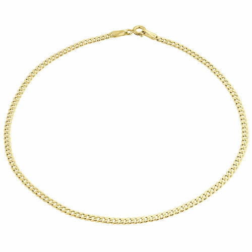 Mens or Ladies 10k Yellow Gold Flat Cuban Curb 2.40mm Bracelet 7-9 Inches
