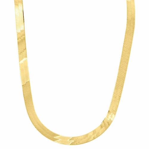 10k Yellow Gold Solid Necklace Silky Herringbone 6mm Chain 16 - 24 Inches New