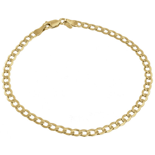 Mens or Ladies 10k Yellow Gold Flat Cuban Curb 4.60mm Link Bracelet 7-10 Inches